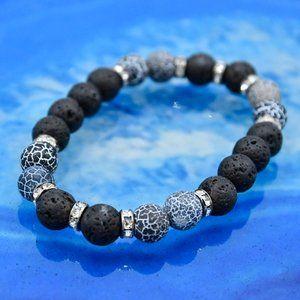 🆕OOAK Black & White Aromatherapy Stretch Bracelet